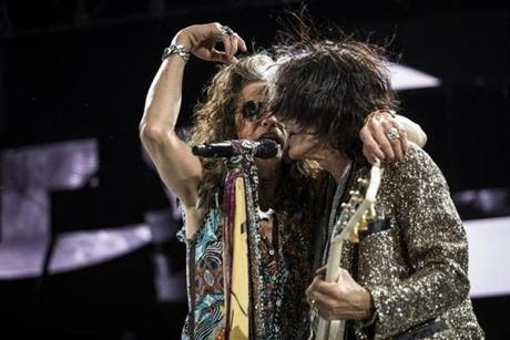 From left: Steven Tyler and Joe Perry at a recent Aerosmith show.
